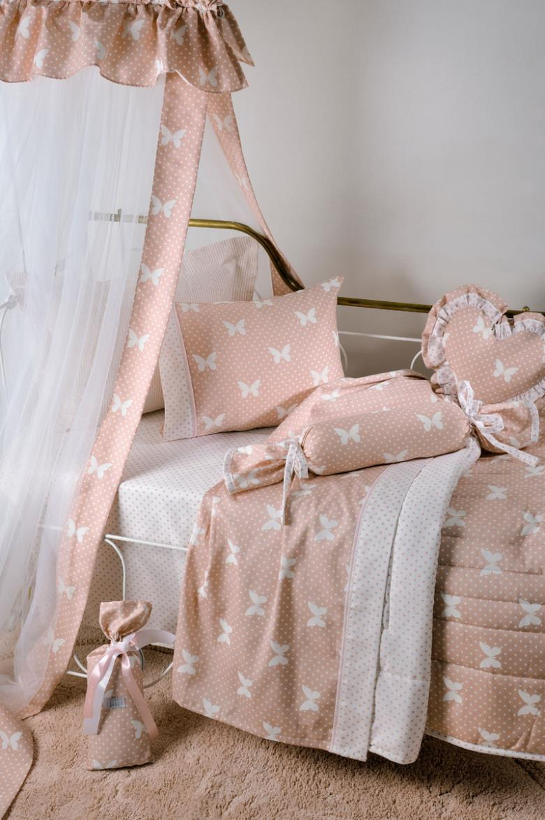 Σετ σεντόνια bebe Down Town S-685 Butterfly Dot Peach